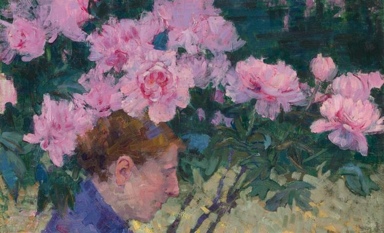 Peonies and head of a woman, c.1887 - John Peter Russell