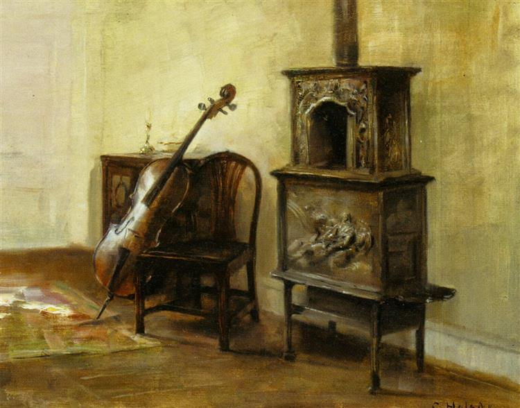 Interior with a Cello - Carl Holsøe
