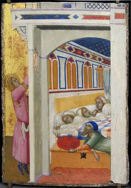 The Charity of Saint Nicholas of Bari (left Wing of the Altarpiece), 1330 - Амброджо Лоренцетті