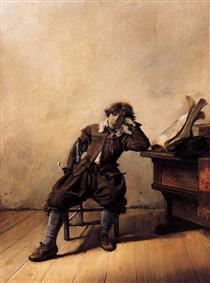 Young Scholar in His Study. Melancholy - Pieter Codde