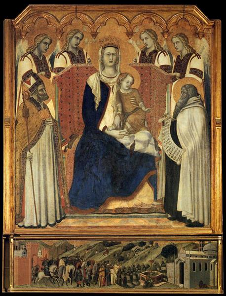 Madonna with Angels Between St Nicholas and Prophet Elijah, 1329 - Pietro Lorenzetti