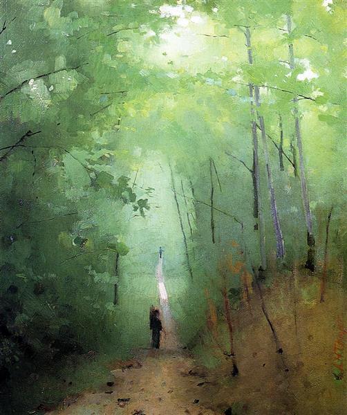 Landscape at Fontainebleau Forest, 1876 - Abbott Handerson Thayer