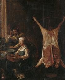 Two Peasants in a Kitchen Interior with a Pig's Carcass Hanging Nearby - Jan Miense Molenaer
