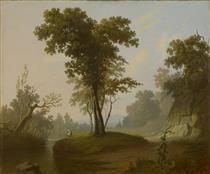 Landscape with Fisherman - George Caleb Bingham