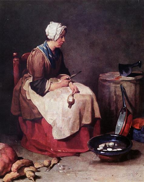Woman Cleaning Turnips, c.1740 - Jean-Baptiste-Simeon Chardin
