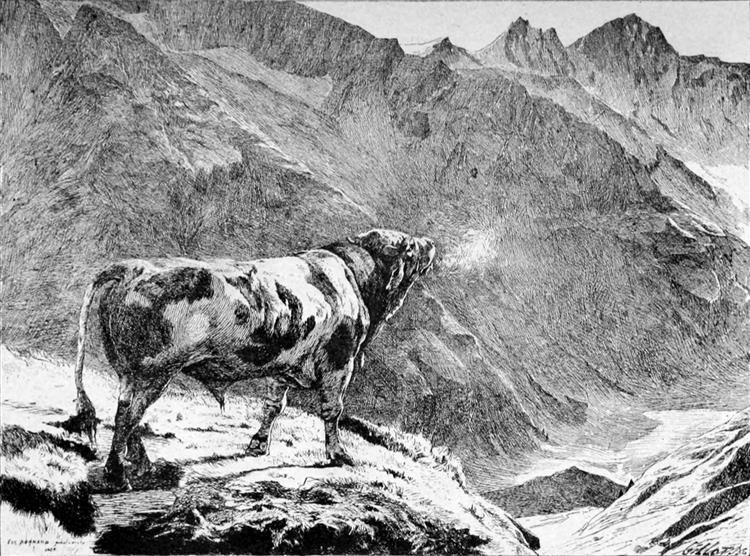 Taureau Dans Les Alpes - Eugène Burnand