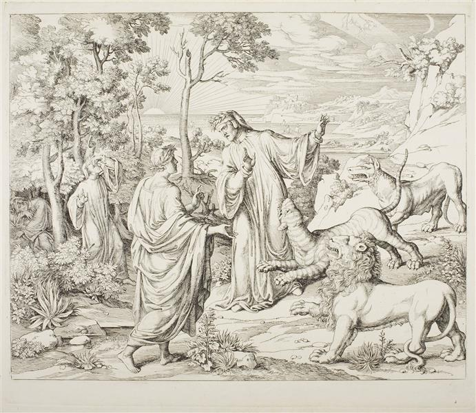 Dante and Vergil Meet the Wild Animals in the Forest, 1800 - Joseph Anton Koch