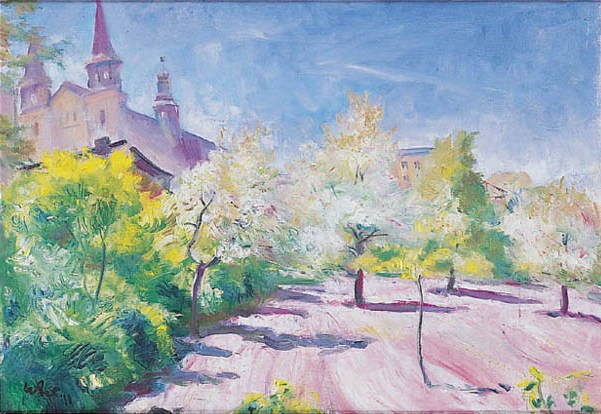 Spring Orchard with a Church - Wojciech Weiss