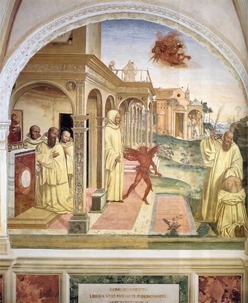 Life of St Benedict, Scene 13. Benedict Frees a Monk, 1505 - 1508 - Giovanni Antonio Bazzi