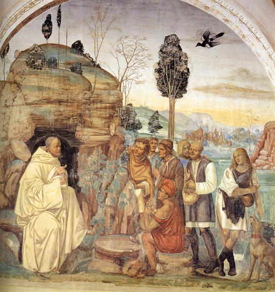 Life of St Benedict, Scene 7. Benedict Instructs the Peasants, 1505 - 1508 - Il Sodoma