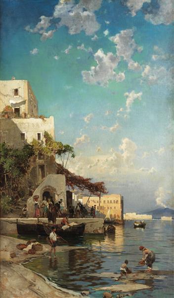Abendliches Treffen Der Fischer in Einer Taverne Von Mergellina Bei Neapel, 1905 - Hermann David Salomon Corrodi