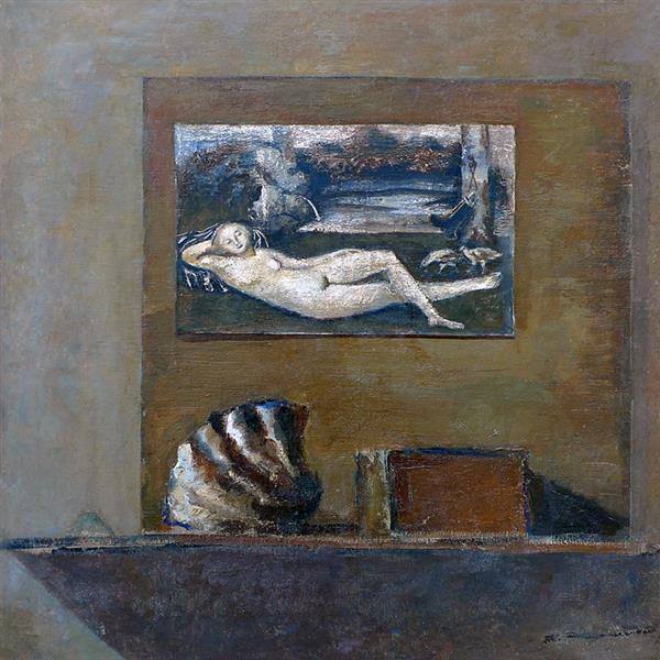 Натюрморт с репродукцией Лукаса Кранаха, c.1970 - Валентин Хрущ