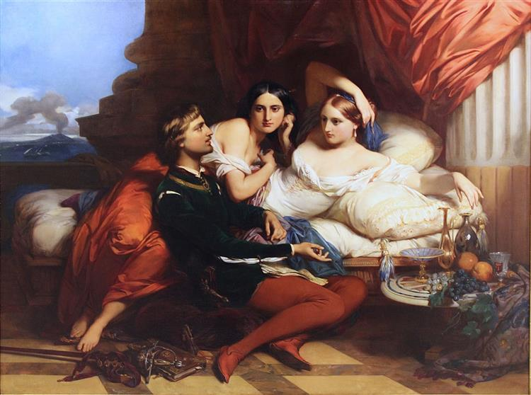 Boccaccio reading from the Decamerone to Queen Johanna of Naples, c.1849 - Gustaf Wappers