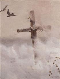 Cross in the blizzard - Józef Chełmoński