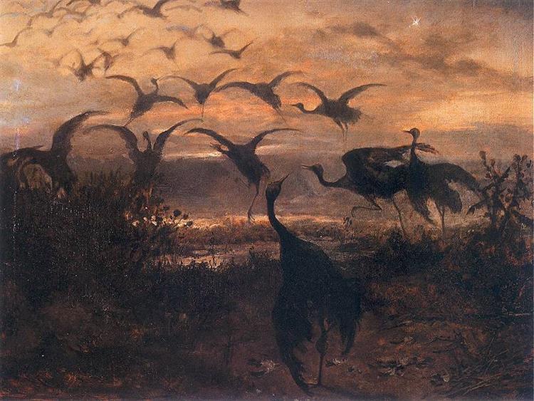 flight of cranes, 1871 - Józef Chełmoński