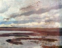 Cranes, Landscape from Meadow - Józef Chełmoński