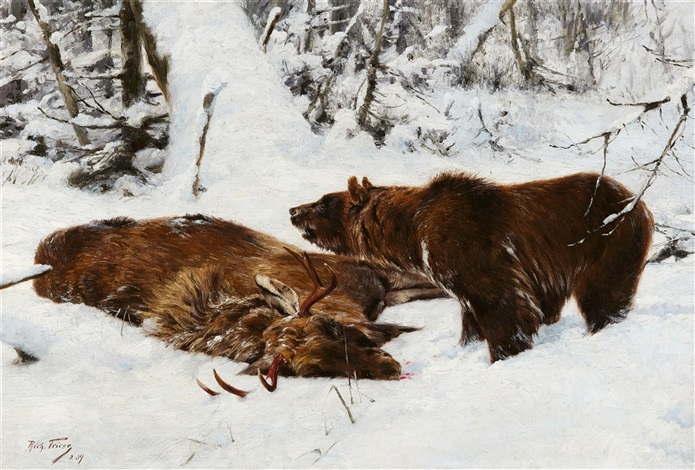 norwegian winter landscape with an elk and a brown bear. Black Bedroom Furniture Sets. Home Design Ideas