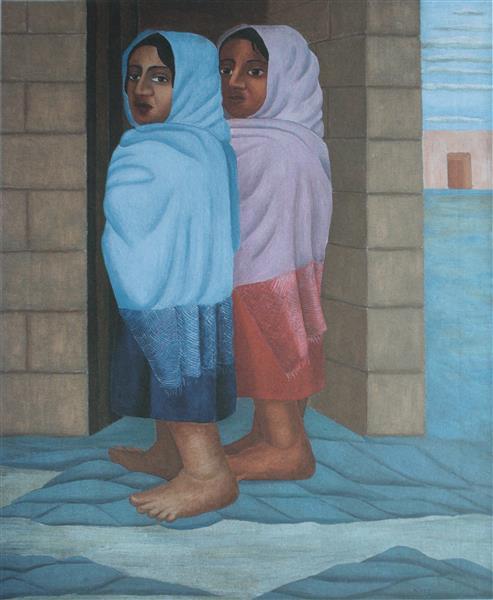 Dos Muchachas De Azul Y Rojo, 1930 - Manuel Rodríguez Lozano