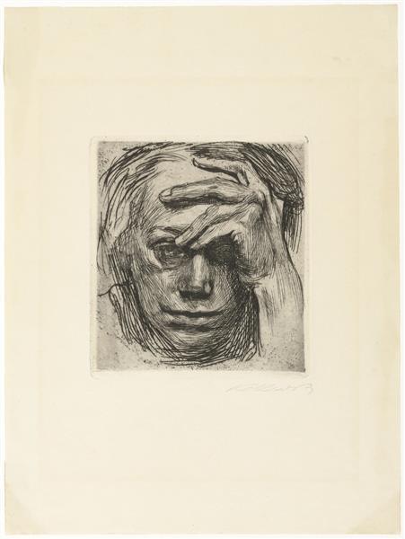 Self-Portrait, Hand at the Forehead, 1910 - Käthe Kollwitz
