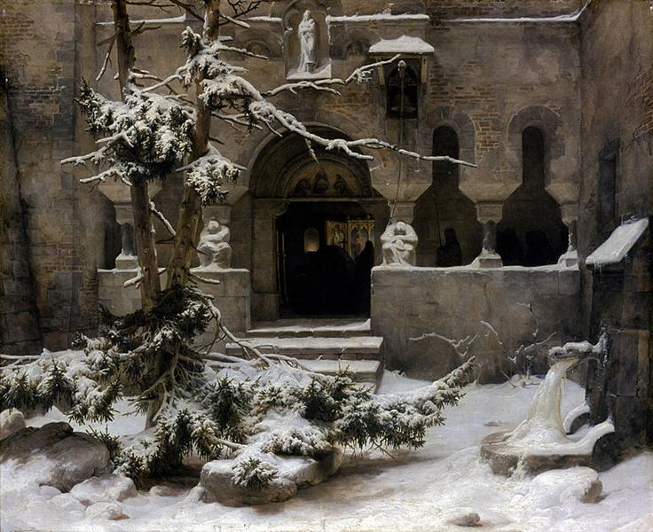 Monastery in snow, c.1828 - c.1829 - Karl Lessing