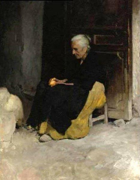 Old Woman Peeling An Orange - Edward E. Simmons