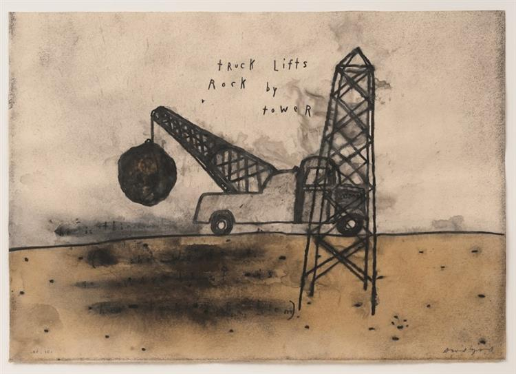 Truck Lifts Rock by Tower - David Lynch