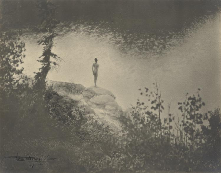 Female Nude Standing on Large Rock Over a Lake, 1923 - Anne Brigman