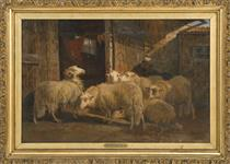 Barn Scene with Sheep - August Friedrich Schenck