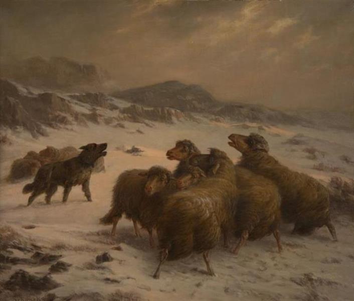 FLOCK OF SHEEP STRANDED IN A BLIZZARD - August Friedrich Schenck
