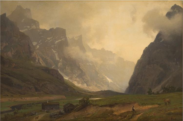 the Foot of Romsdalshorn to the Right - Hans Gude