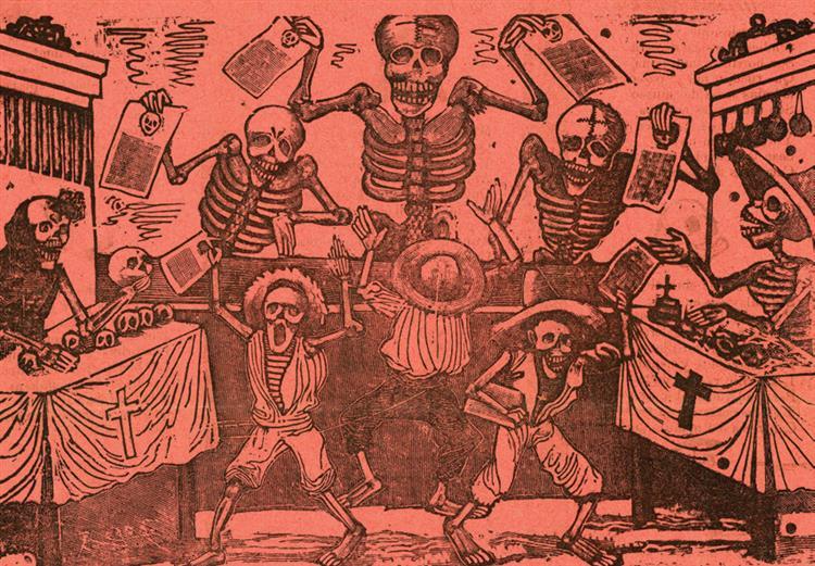 Jumble of Skeletons of Newspaper Boys, 1903 - José Guadalupe Posada