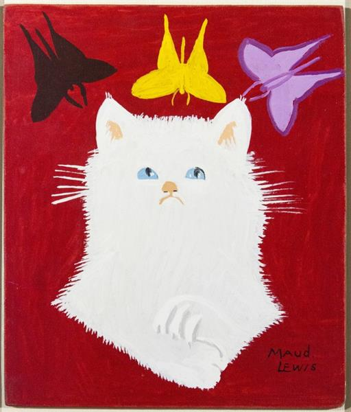 Portrait of White Cat & Framed Envelope, 1967 - Maud Lewis