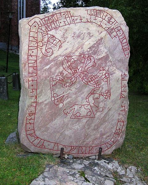 Runestone at Strängnäs Cathedral, c.1000 - Viking art