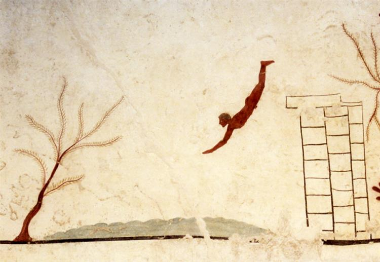 Tomb of the Diver in Paestum, Italy - Ancient Greek Painting