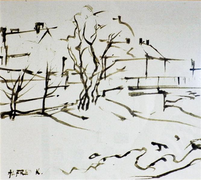 Beginning of the Banija Bridge (a turkey feather drawing, detail), 1994 - Alfred Freddy Krupa