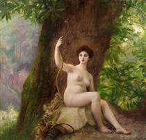 Woman as Diana in Nature - Gustave-Claude-Etienne Courtois