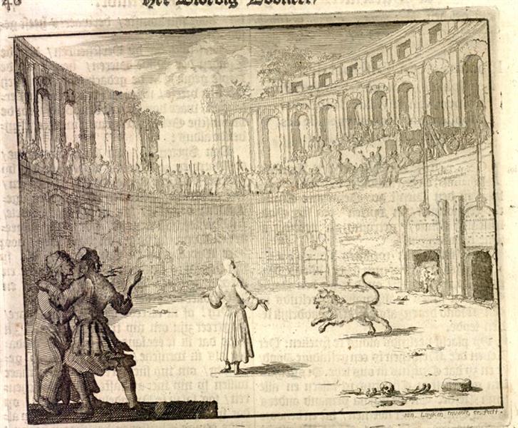 Ignatius Thrown to the Lions, Rome, AD 111, 1684 - Jan Luyken