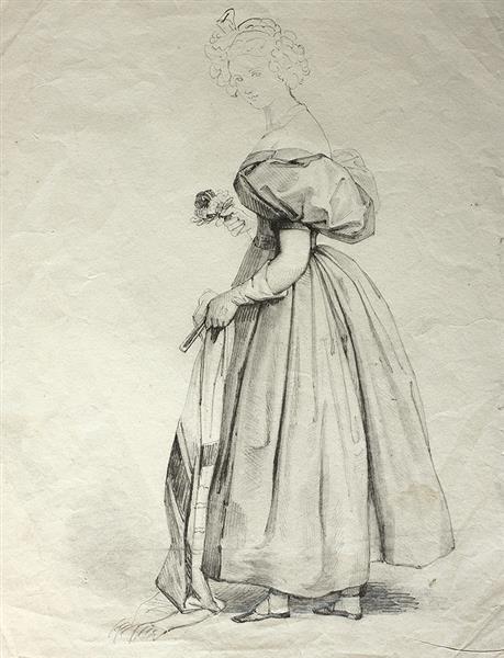 Mujer Con Fular Abanico Y Flores, 1830 - Rosario Weiss Zorrilla