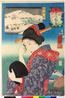 Volendo rimuovere il trucco - Utagawa Kuniyoshi