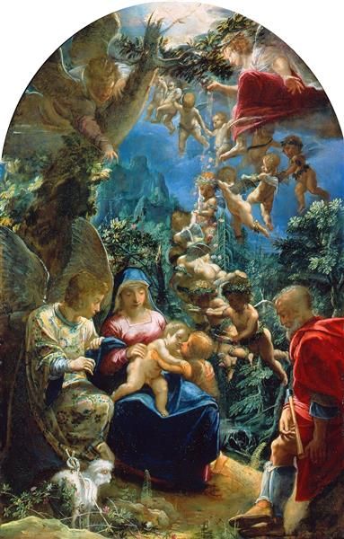 The Holy Family with the Infant John the Baptist and Angels, 1599 - Adam Elsheimer