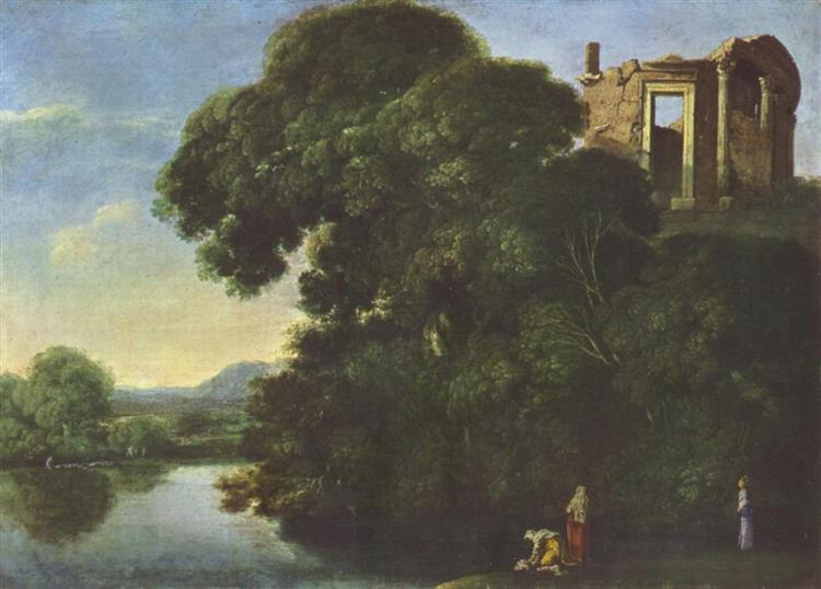 Landscape with the Temple of Vesta in Tivoli, c.1600 - Адам Эльсхаймер
