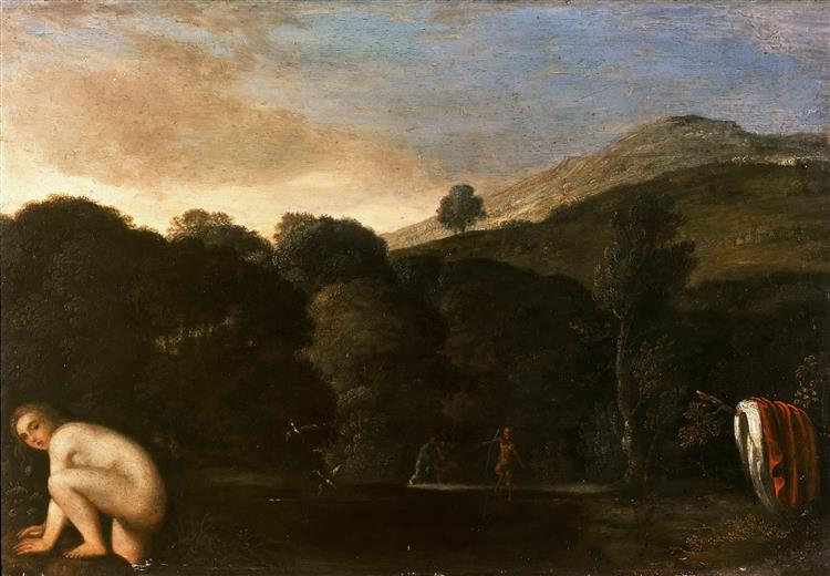 Landscape with bathing nymph, 1605 - Adam Elsheimer