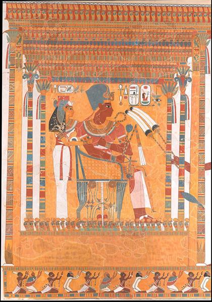 Amenhotep III and His Mother, Mutemwia, in a Kiosk, c.1390 - c.1353 BC - Ancient Egyptian Painting
