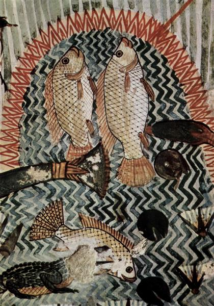Fish Swimming into Menna's Spear, c.1422 - c.1411 BC - Ancient Egyptian Painting