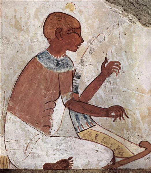 a Mural of a Blind Musician Playing a Harp, from the Tomb of the Ancient Egyptian Scribe Called Nakht, c.1400 - c.1390 BC - Ancient Egypt