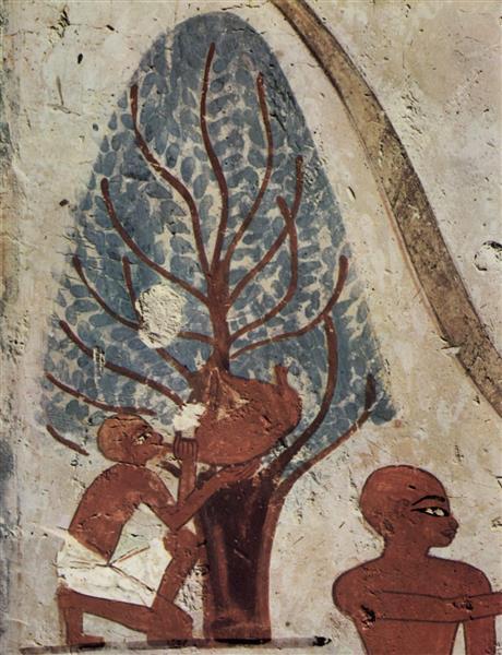 Trinkender Bauer Mit Wasserschlauch, Detail, c.1400 - c.1390 BC - Ancient Egyptian Painting