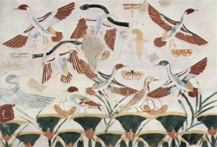 Vogeljagd, Detail, c.1400 - c.1390 BC - Ancient Egyptian Painting