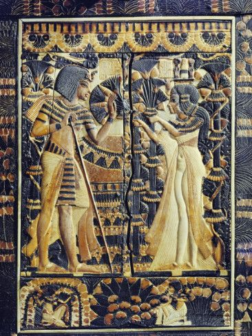 Plaque from the Lid of a Coffer Showing Tutankhamun and His Wife Ankhesenamun in a Garden, c.1351 - c.1334 BC - Ancient Egyptian Painting