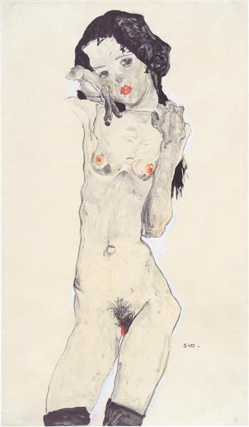 Girl with Black Hair, 1910 - Egon Schiele