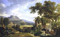Classical Landscape with Figures Drinking by a Fountain - Pierre-Henri de Valenciennes